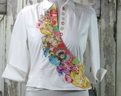 Appliqued Wrap Top, Wearable Art, Upcycled Clothing, Women's, White Wrap Blouse
