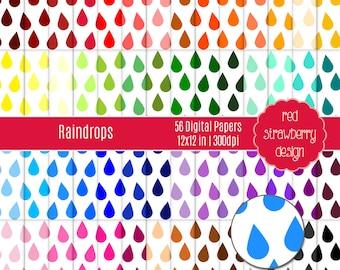 75% OFF Sale - 56 Digital Papers - Raindrops - Instant Download - JPG 12x12 (DP217)
