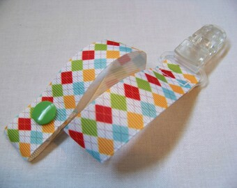 Argyle Pacifier Clip, Snap Pacifier Clip and Universal Pacifier Clip, Pacifier Holders