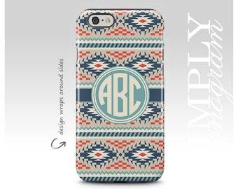 Monogram, iPhone 7 Case, iPhone 8 Case, iPhone 7 Plus Case, Samsung Galaxy Case, iPhone X Case, Galaxy S8 Case, Aztec Pattern