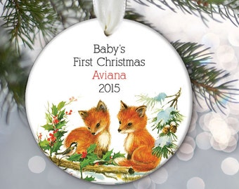 Baby's First Christmas Ornament, Personalized Baby Ornament, Christmas Baby Gift Fox Christmas Ornament Baby Shower Gift  boy girl OR750