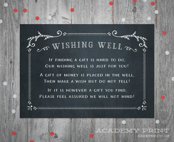 Wishing Well Wedding Insert Instant Download Printable