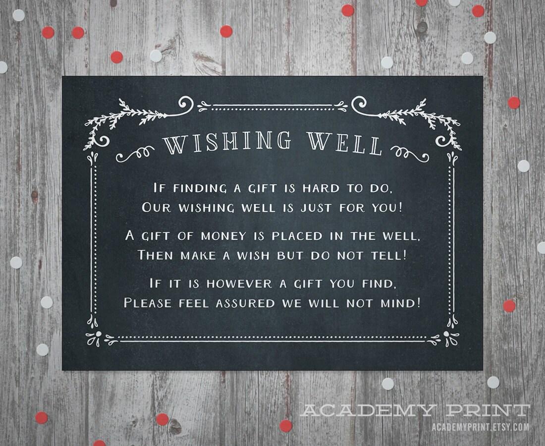 Wishing Well Wedding Insert Instant Download Printable