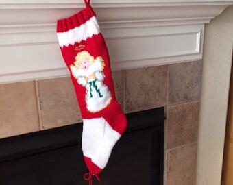 Hand Knit Angel Christmas Stocking