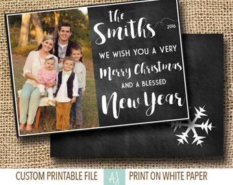 Chalkboard, Printable Christmas Card with Photo- Photo Holiday Card- Family Card for Christmas
