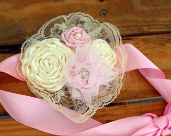 Flower sash, Flower Girl Sash, Light Pink & Ivory Flower Girl Sash, Toddler Flower Sash, Photo Prop Sashes