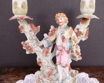 Romantic Bisque Boy Figural Candle Holder