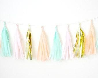 Pink, Peach, Mint Tassel Garland - One Stylish Party