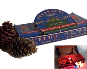 1950's Vintage Christmas Tree Lights Set Paramount General Electric Lights Seven Bulbs Original Box Working Holiday Home Decor
