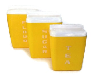 50's Vintage Kitchen Canister Set Bright Yellow Plastic Set of 3 Nesting Canisters Square Burroughs Canisters Vintage Kitchen Storage