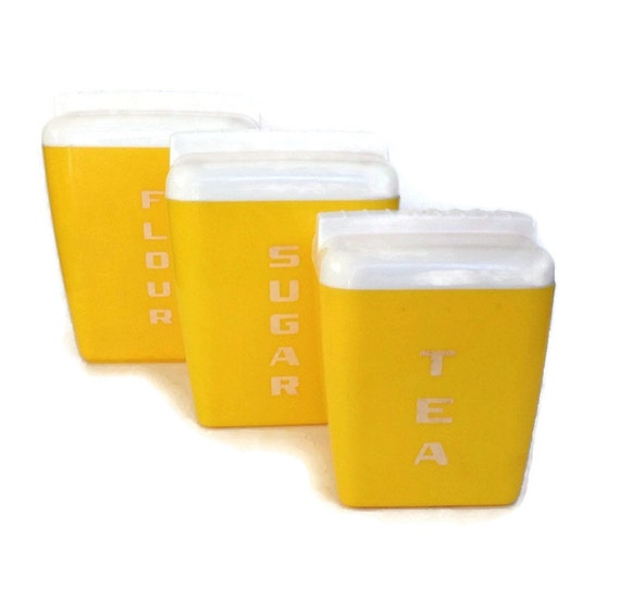 kitchen canister set bright yellow plastic set of 3 nesting canisters