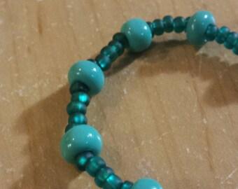 Stretchy beaded bracelet - turquoise