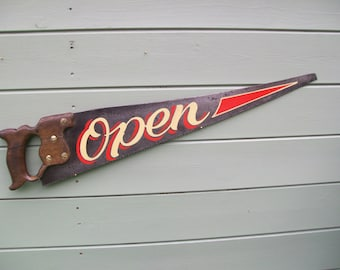 Quirky Vintage English Traditional Signwritten Hand - Saw..