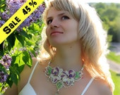 SALE 45% OFF! Necklace with orchids. Freshwater pearls, amethysts, ametrine, chrome-diopside. Necklace Bead Embroidery Art