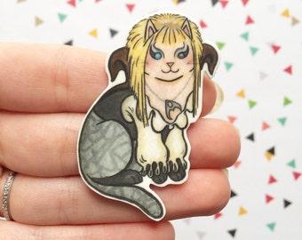 Bowie Halloween Cat Brooch David Bowie  Cat Pin - Unique Boutonnière