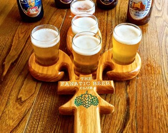 Fleur-de-Lis Shaped Wooden Beer Tasting Tray with 5 Glasses