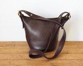 Vintage COACH Brown Maggie Duffle 9019/ Coach Small Bucket Bag/ Dark Brown Leather Crossbody Handbag Purse