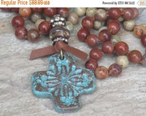 ON SALE Boho Ceramic Southwestern Cross Pendant with Mixed African Opal Hand Knotted Necklace