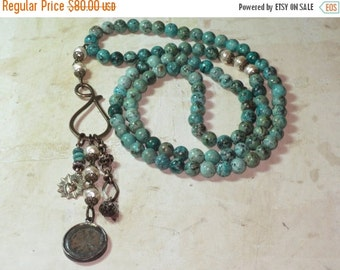 ON SALE Boho Chic African Turquoise Bead with Mixed Charms and Czech Glass Pearls Necklace/Bohemian/Dharma Wheel/Beachy