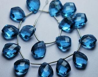 5 Match Pair,Super Rare,LONDON Blue Quartz Faceted Fancy Shape Briolettes Calibrated Size 10x14mm