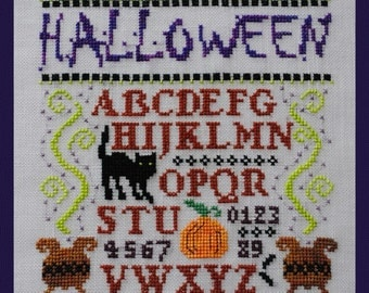 """Halloween Cross Stitch Instant Download Pattern """"Mini Halloween Sampler"""" Counted Embroidery Design Hallows Eve Chart X Stitch October Autumn"""