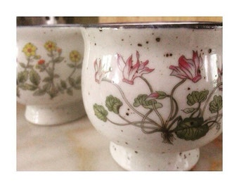 Vintage Ceramic Mugs -Herb & Flower Garden- Coffee/Tea Cups