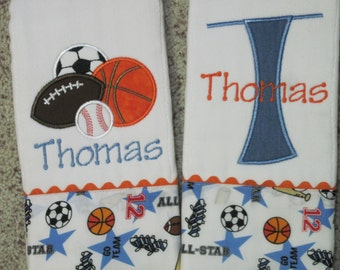 Personalized Set of Baby Boy Burp Cloths with Sports Theme