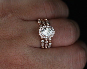 3 Ring Bridal Set Moissanite Engagement Ring and Wedding Band Set in 14k Rose Gold with Moissanite Oval 8x6mm and Diamond Halo