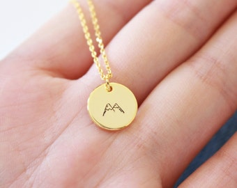 Mountain necklace // Gold Mountain Necklace // hand stamped mountain necklace