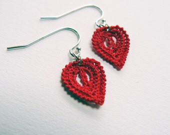 Red Crochet Leaf Earrings