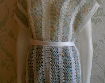 Summer beach cape, capelet, summer poncho,sweater, tunic,knit, woman, white, multicolour,lace, cover up