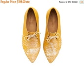 LAST SIZES SALE Lara shoes, Yellow Corn , handmade, Hand Printed, flats, leather shoes, by Tamar Shalem on etsy