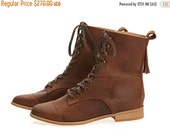 FINAL BOOTS SALE New! Janis, Brown Boots, Leather Boots, Lace up Boots, Flats, Handmade Shoes