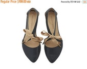 MOTHERS DAY SALE Chelsy Black leather sandalas/ handmade leather  flats by Tamar Shalem