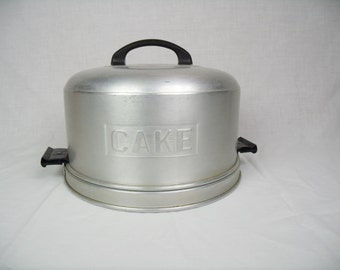 Vintage Cake Carrier aluminum cake taker industrial kitchen keeper Kromex metal serveware