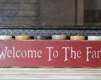 wooden sign, quote sign, welcome to the farm, country rustic, mantle piece