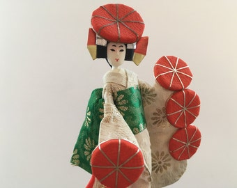 Japan Folk Figurine Collectible geisha doll Japanese Figurine Traditional Japanese Geisha Folk doll Made in Japan