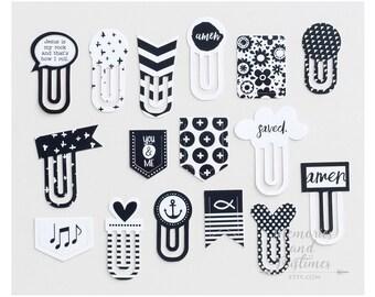 Illustrated Faith Designer Paper Clips - Black & White - Bible Journaling / Planner / Bookmark - Bella Blvd - 419828