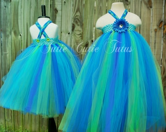 Peacock Inspired Flower girl Tutu Dress in Turquoise, Royal Blue and Lime