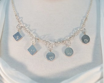Sterling Silver Charm Necklace 999 / Sterling Silver Chain 925 / Charm Lovers