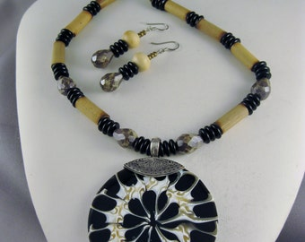 Resin Coated Shell with Czech Glass Beads