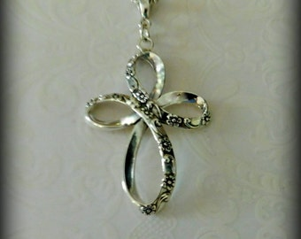 Sterling silver floral cross necklace, religious jewelry, spiritual jewelry, wedding jewelry, faith