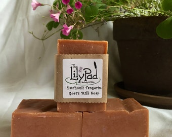Sensual Tangerine Patchouli Goat's Milk Soap. Cold-process, essential oils, inexpensive gift for man, teacher, biodegradable, earthy scent