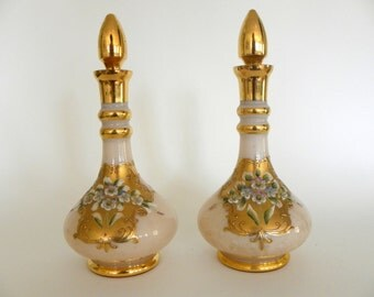Vintage Bohemian Glass Gold and Pink Pair of Decanters, Made in Czechoslovakia