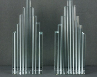Levenger Plate Glass Bookends Modern Art Deco Style Skyscraper Signed