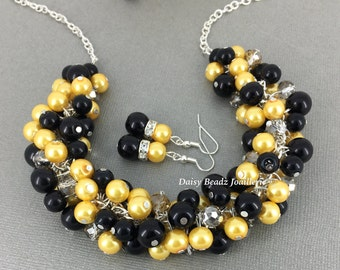 Yellow and Black Cluster Necklace, Cluster Pearl Necklace, Yellow and Black Necklace, Bridesmaid Gift, Bridesmaid Necklace, Pearl Jewelry