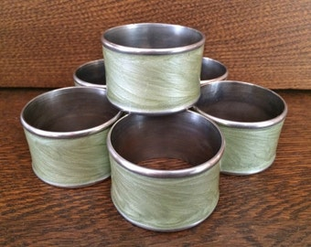 6 - GREEN STAINLESS Steel Napkin Rings - Sage Green Laquered