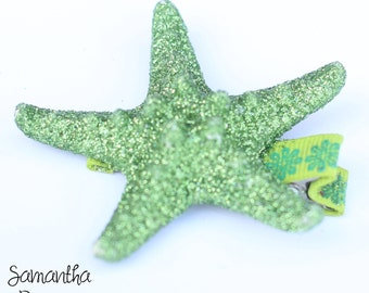 Green Glitter Starfish Hair Clip