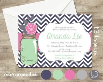 Mason Jar Invitation, Bridal Shower Invitation, Wedding Shower, Mason Jars, Chalkboard, invite, Invitation, chevron peonies invite