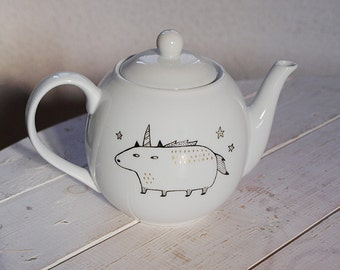 "Teapot ""Cat / Unicorn"" handpainted"